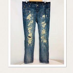 Torrid 16 boyfriend distressed Embellished Jeans